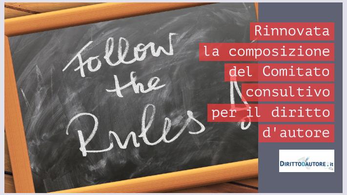 Rinnovata la composizione del comitato consultivo per il diritto d'autore